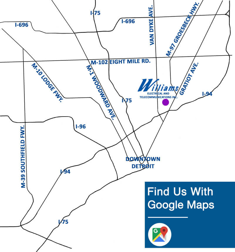 Map to Williams Electrical Company